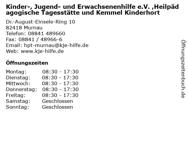 Kinder-, Jugend- und Erwachsenenhilfe e.V. ,Heilpädagogische Tagesstätte und Kemmel Kinderhort in Murnau: Adresse und Öffnungszeiten