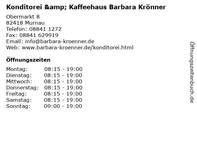 Konditorei & Kaffeehaus Barbara Krönner in Murnau: Adresse und Öffnungszeiten