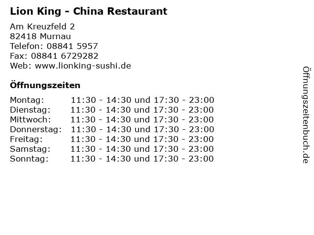 Lion King - China Restaurant in Murnau: Adresse und Öffnungszeiten