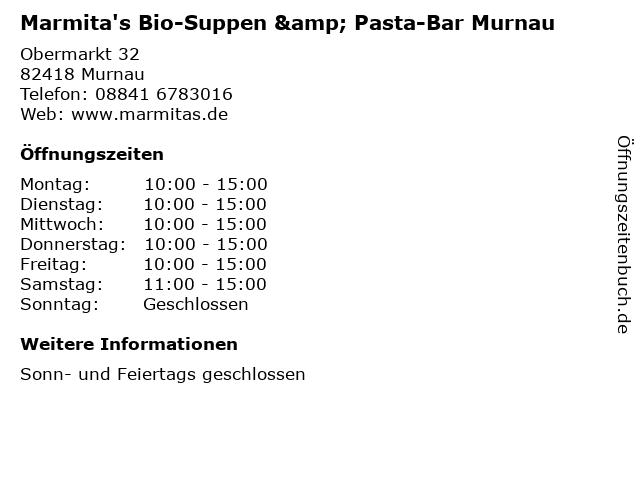 Marmita's Bio-Suppen & Pasta-Bar Murnau in Murnau: Adresse und Öffnungszeiten