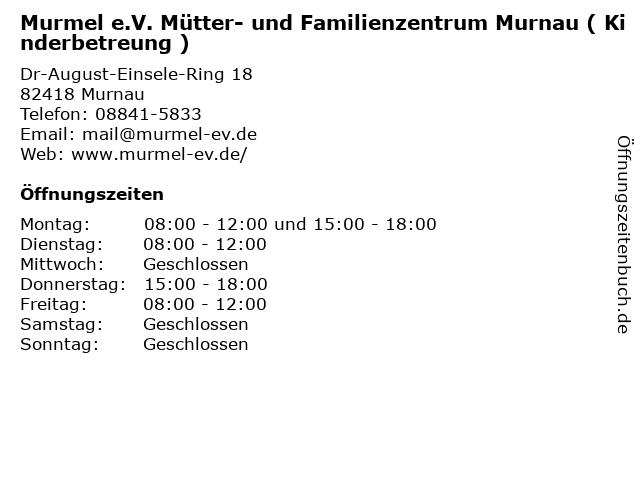 Murmel e.V. Mütter- und Familienzentrum Murnau ( Kinderbetreung ) in Murnau: Adresse und Öffnungszeiten