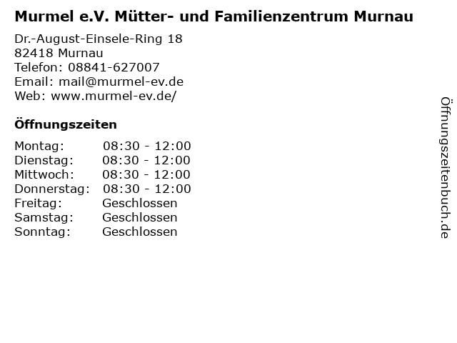 Murmel e.V. Mütter- und Familienzentrum Murnau in Murnau: Adresse und Öffnungszeiten