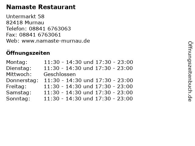 Namaste Restaurant in Murnau: Adresse und Öffnungszeiten