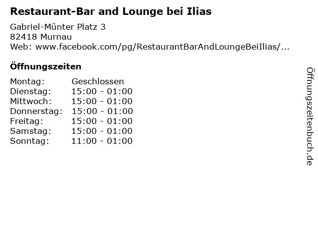 Restaurant-Bar and Lounge bei Ilias in Murnau: Adresse und Öffnungszeiten