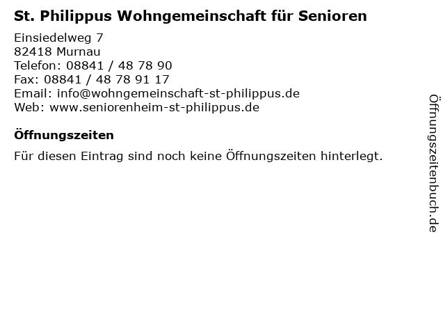 St. Philippus Wohngemeinschaft für Senioren in Murnau: Adresse und Öffnungszeiten