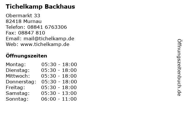 Tichelkamp Backhaus in Murnau: Adresse und Öffnungszeiten