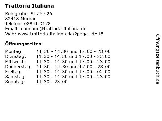Trattoria Italiana in Murnau: Adresse und Öffnungszeiten