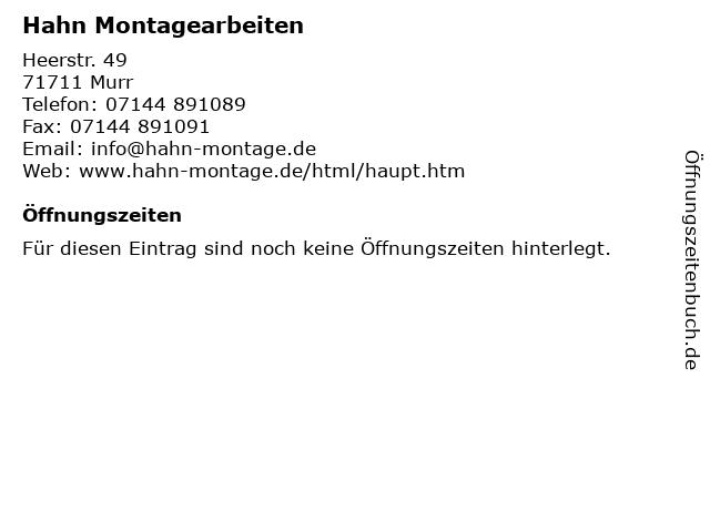 Hahn Montagearbeiten in Murr: Adresse und Öffnungszeiten
