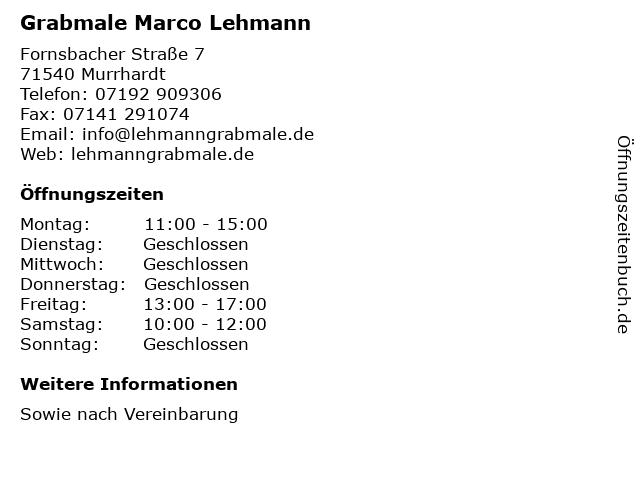Grabmale Marco Lehmann in Murrhardt: Adresse und Öffnungszeiten