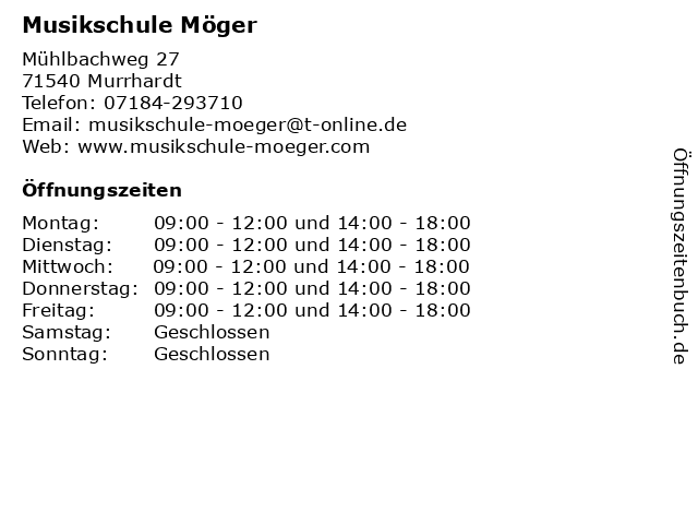 Musikschule Möger in Murrhardt: Adresse und Öffnungszeiten