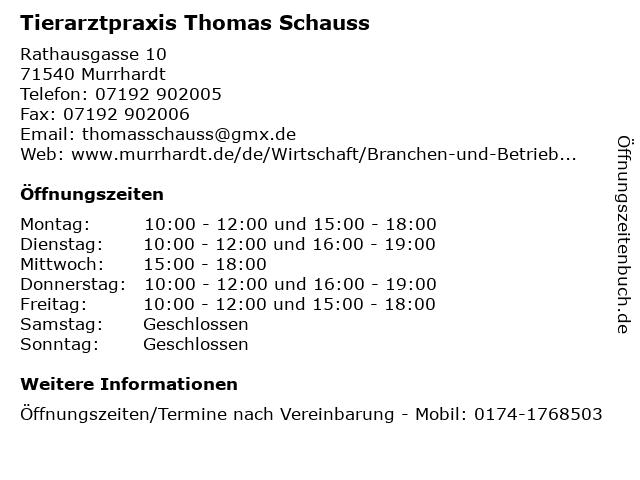 Tierarztpraxis Thomas Schauss in Murrhardt: Adresse und Öffnungszeiten
