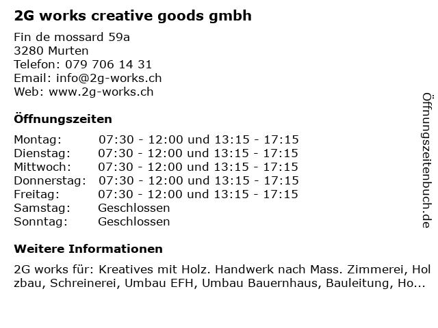 2G works creative goods gmbh in Murten: Adresse und Öffnungszeiten