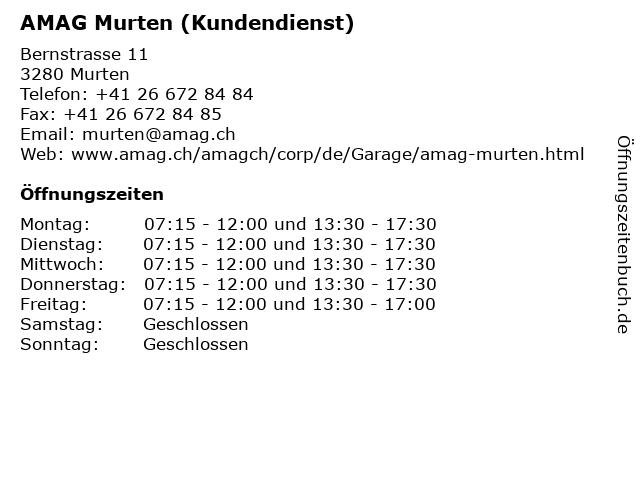 AMAG Murten (Kundendienst) in Murten: Adresse und Öffnungszeiten