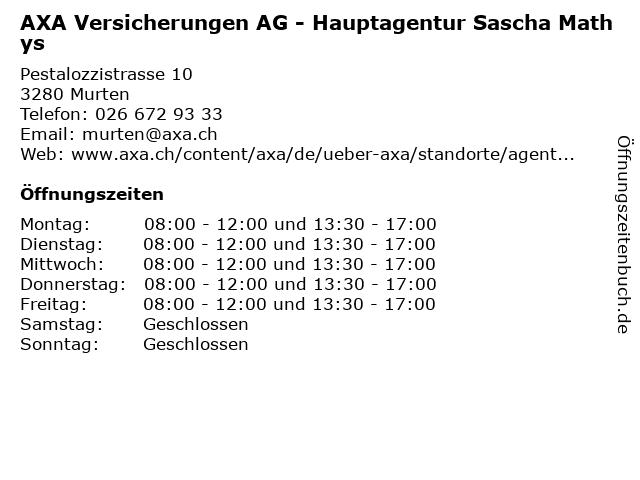 AXA Versicherungen AG - Hauptagentur Sascha Mathys in Murten: Adresse und Öffnungszeiten