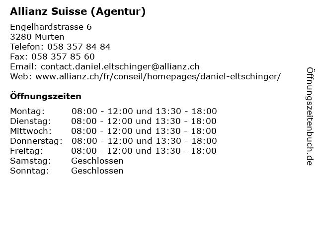 Allianz Suisse (Agentur) in Murten: Adresse und Öffnungszeiten