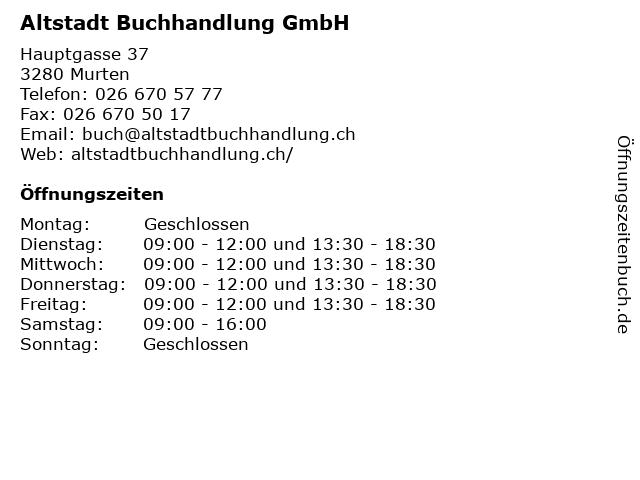 Altstadt Buchhandlung GmbH in Murten: Adresse und Öffnungszeiten