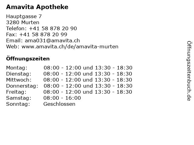 Amavita Apotheke in Murten: Adresse und Öffnungszeiten