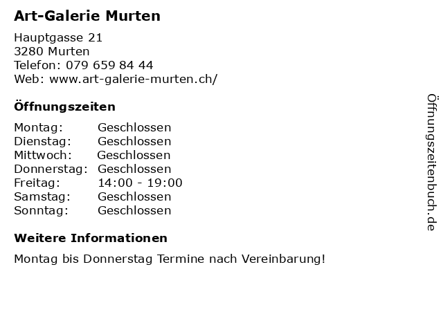 Art-Galerie Murten in Murten: Adresse und Öffnungszeiten