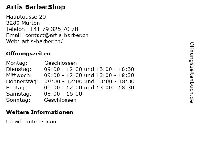 Artis BarberShop in Murten: Adresse und Öffnungszeiten