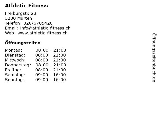 Athletic Fitness in Murten: Adresse und Öffnungszeiten