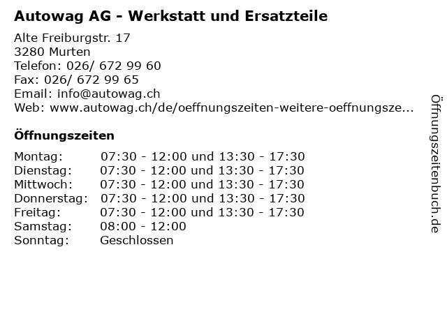 Autowag AG - Werkstatt und Ersatzteile in Murten: Adresse und Öffnungszeiten