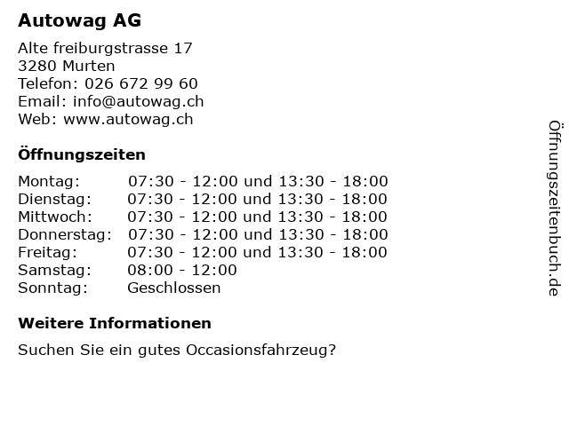 Autowag AG - Fahrzeugverkauf in Murten: Adresse und Öffnungszeiten