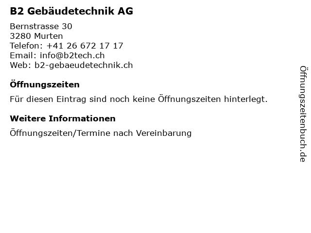 B2 Gebäudetechnik AG in Murten: Adresse und Öffnungszeiten