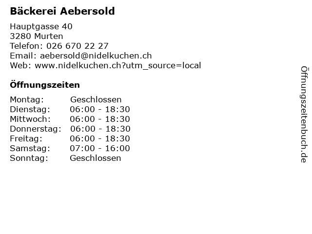 Bäckerei Aebersold in Murten: Adresse und Öffnungszeiten