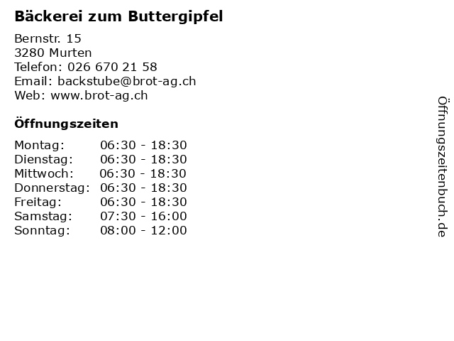 Bäckerei zum Buttergipfel in Murten: Adresse und Öffnungszeiten