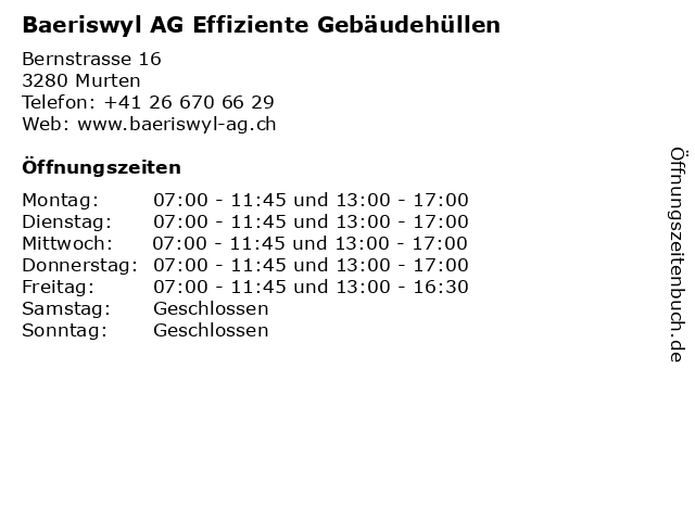 Baeriswyl AG Effiziente Gebäudehüllen in Murten: Adresse und Öffnungszeiten