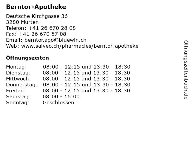Berntor-Apotheke in Murten: Adresse und Öffnungszeiten