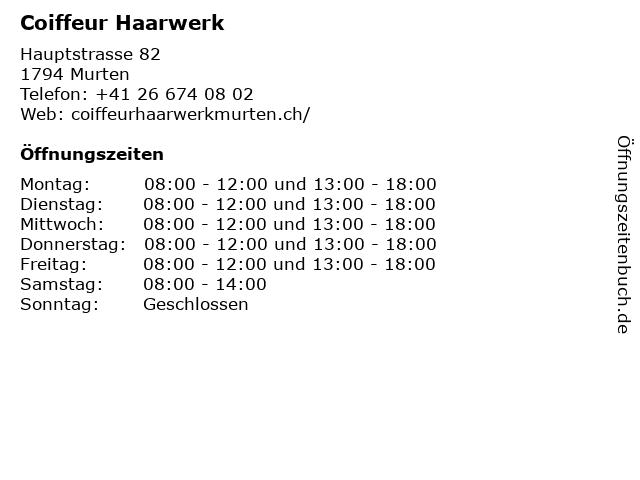 Coiffeur Haarwerk in Murten: Adresse und Öffnungszeiten