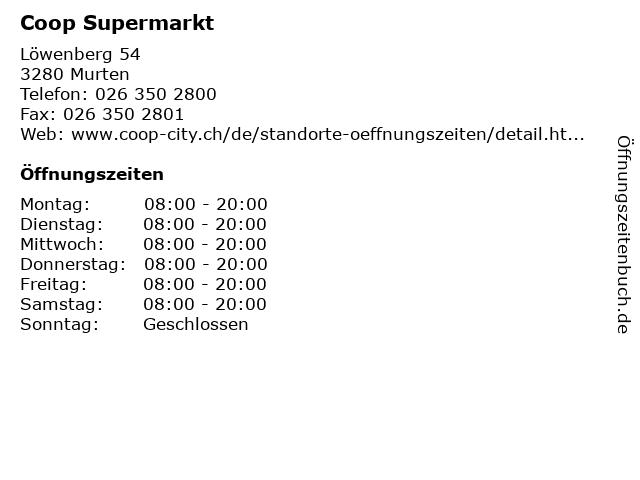 Coop Supermarkt in Murten: Adresse und Öffnungszeiten