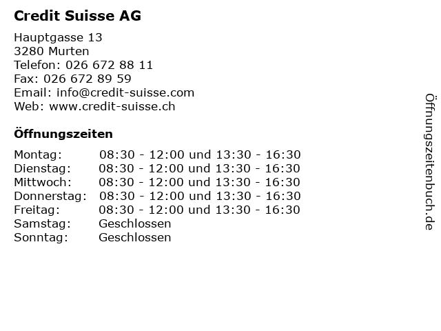 Credit Suisse AG in Murten: Adresse und Öffnungszeiten