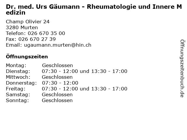 Dr. med. Urs Gäumann - Rheumatologie und Innere Medizin in Murten: Adresse und Öffnungszeiten
