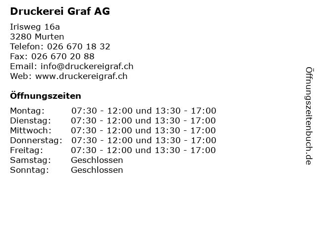 Druckerei Graf AG in Murten: Adresse und Öffnungszeiten