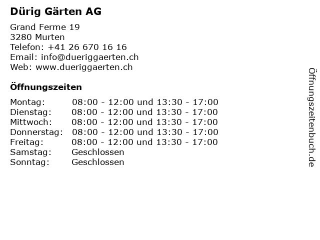 Dürig Gärten AG in Murten: Adresse und Öffnungszeiten