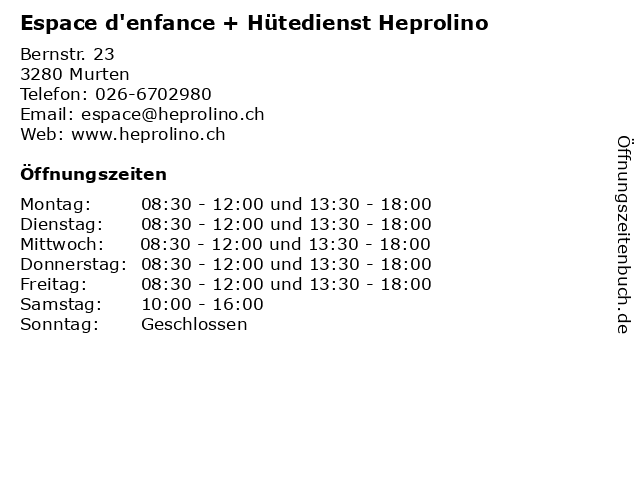 Espace d'enfance + Hütedienst Heprolino in Murten: Adresse und Öffnungszeiten
