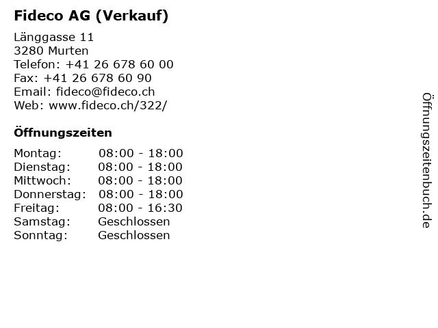 Fideco AG (Verkauf) in Murten: Adresse und Öffnungszeiten