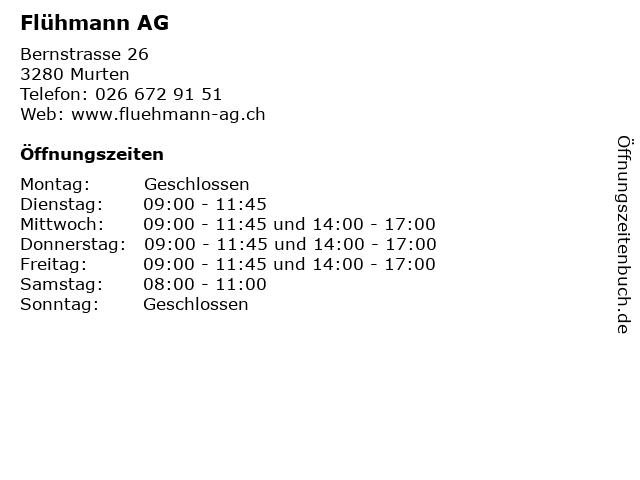 Flühmann AG in Murten: Adresse und Öffnungszeiten