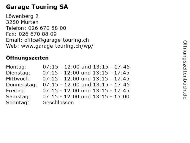 Garage Touring SA in Murten: Adresse und Öffnungszeiten