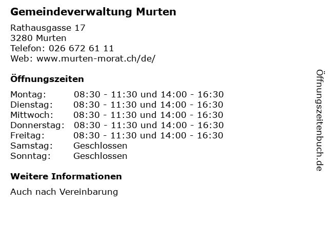 Gemeindeverwaltung Murten in Murten: Adresse und Öffnungszeiten