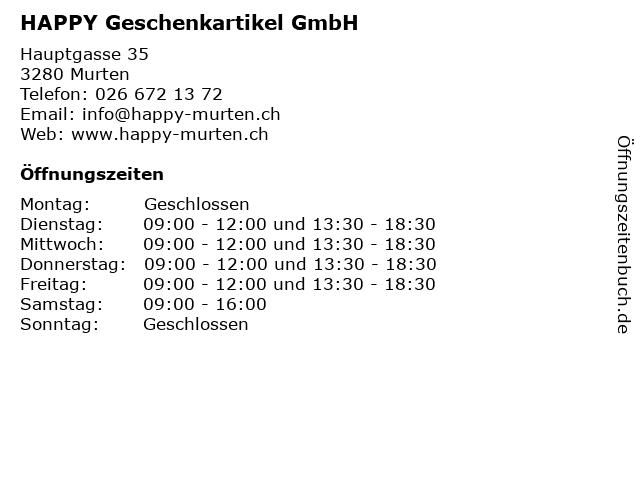 HAPPY Geschenkartikel GmbH in Murten: Adresse und Öffnungszeiten