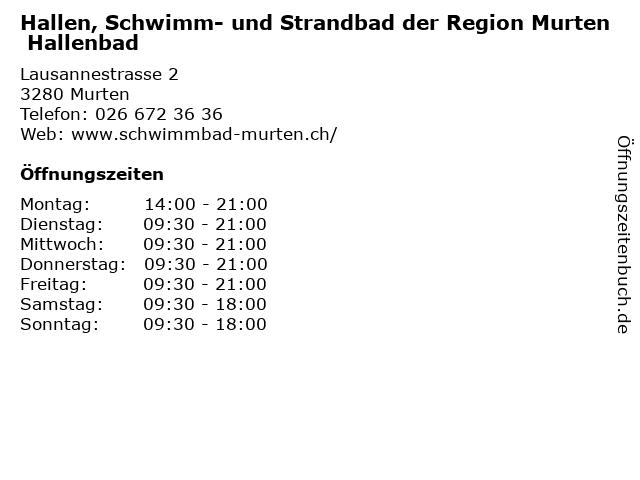 Hallen, Schwimm- und Strandbad der Region Murten Hallenbad in Murten: Adresse und Öffnungszeiten