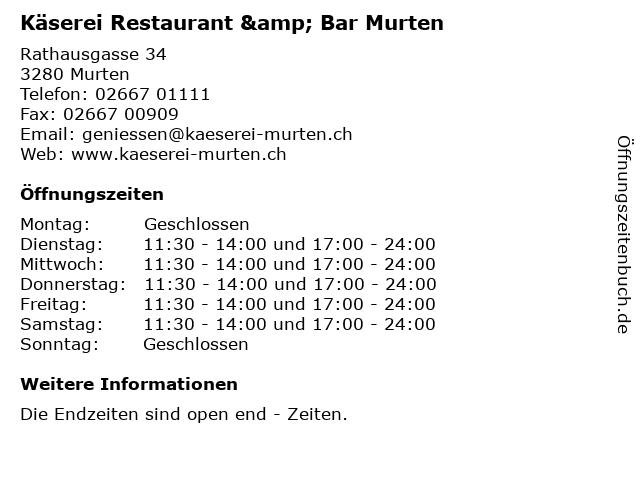 Käserei Restaurant & Bar Murten in Murten: Adresse und Öffnungszeiten