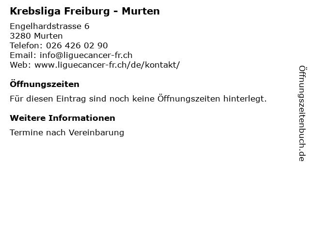 Krebsliga Freiburg - Murten in Murten: Adresse und Öffnungszeiten