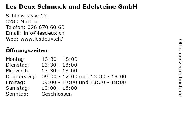 Les Deux Schmuck und Edelsteine GmbH in Murten: Adresse und Öffnungszeiten