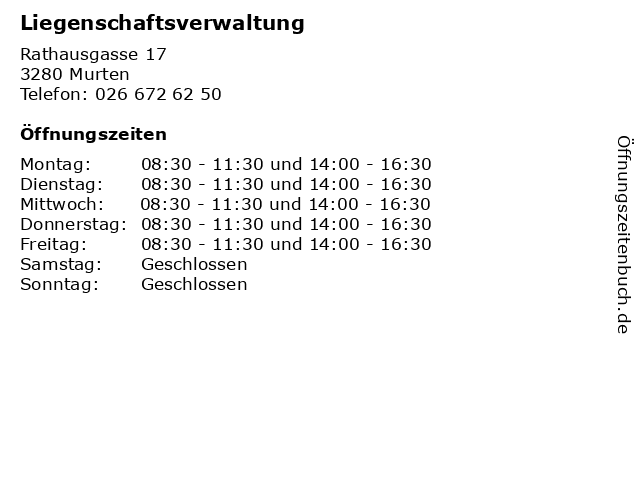 Liegenschaftsverwaltung in Murten: Adresse und Öffnungszeiten