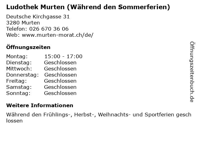 Ludothek Murten (Während den Sommerferien) in Murten: Adresse und Öffnungszeiten