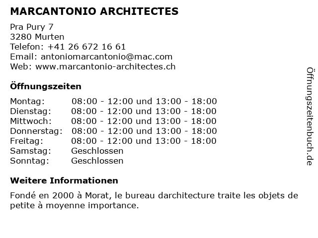 MARCANTONIO ARCHITECTES in Murten: Adresse und Öffnungszeiten